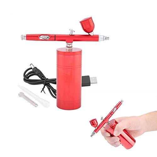 エアブラシセット エアコンプレッサーキット 一体化コンプレッサー USB充電式 ダブルアクション ペイントスプレーガン 美容彩色絵画用 モデル、ケーキ塗装 塗装用 塗装用具