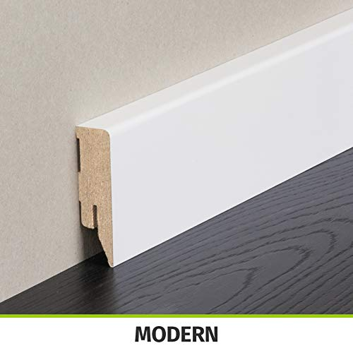 HORI® Sockelleiste weiß foliert RAL 9010 I Massivholzkern Fußleiste I Modern Profil I Höhe: 40 mm