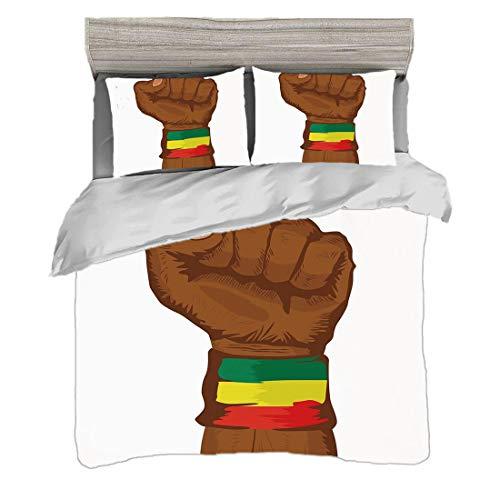 Juego de funda nórdica (150 x 200 cm) con 2 fundas de almohada Rasta Ropa de cama con impresión digital Símbolo de rebelión etíope Muñeca con bandera Colores Lámina decorativa, Marrón Verde Amarillo R