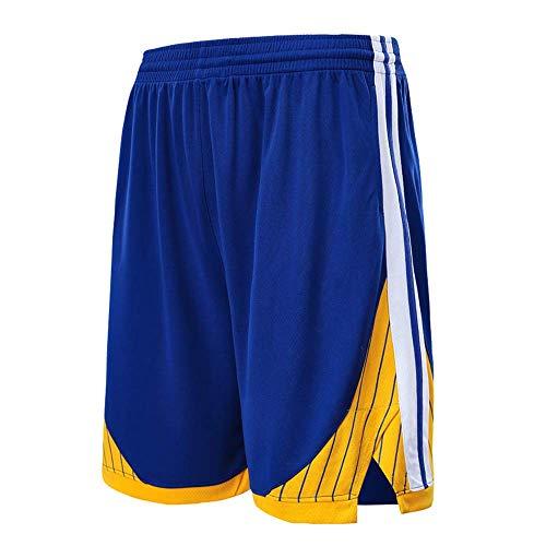 NBA Golden State Warriors Pantaloncini Partita di Basket Outdoor Traspirante ad Asciugatura Rapida Scheda Vintage,Blue,2XL/170-175cm