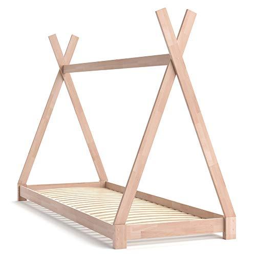 VitaliSpa Kinderbett Tipi Hausbett Indianer Bett Kinderhaus Massivholz Zelt Holz (Natur, 90 x 200 cm)