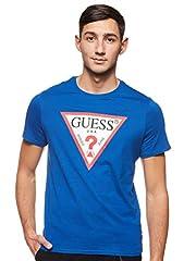 Guess Camiseta de Manga Corta Diseño con Logotipo Triangular para Hombre