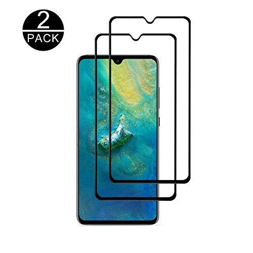 TECHKUN Panzerglas Schutzfolie für Huawei Mate 20, Bubble Free Installation Applikator gehärtetem Glas Bildschirmschutzfolie [Anti-Fingerprint] für Huawei Mate 20(Schwarz)