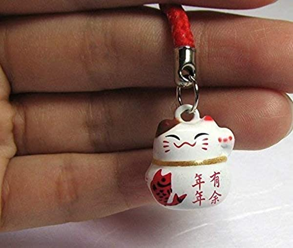 Fengshui Lucky White Maneki Neko Cat Bell Small Size 5 8 W Auspicious Key Chain Fortune