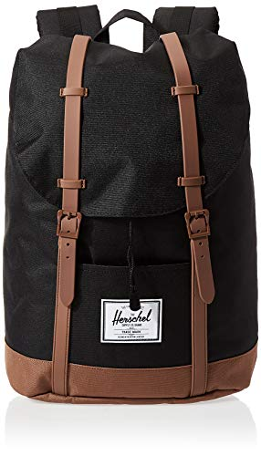 Herschel Retreat Backpack, Black/Saddle Brown, Classic 19.5L