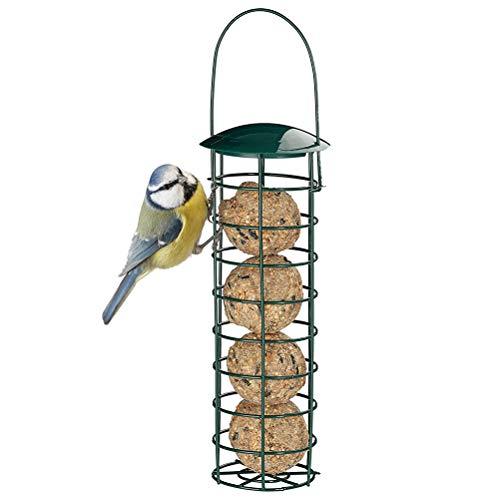 Ettzlo Alimentador de pájaros de Metal, alimentador de pájaros Salvajes Recargable a Prueba de óxido Verde, alimentador de pájaros Colgante Resistente a la Intemperie