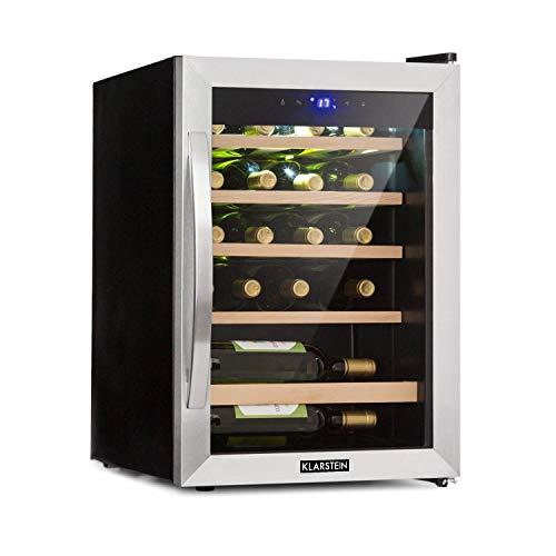 Klarstein Vinamour 19 - Nevera para vinos con puerta acristalada, 19 botellas de vino, 65 L, 4-18°C, solo 39 dB, Iluminación interior, Control táctil, Marco de acero, Antracita