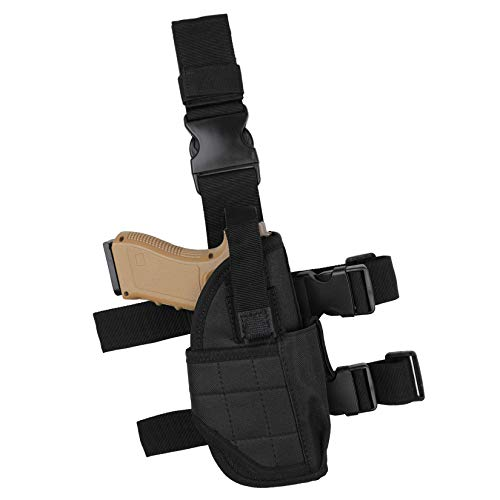 Drop Leg Holster, Thigh Holster with Magazine Pouch, Tactical Pistol Gun Holster for Right Handed Black