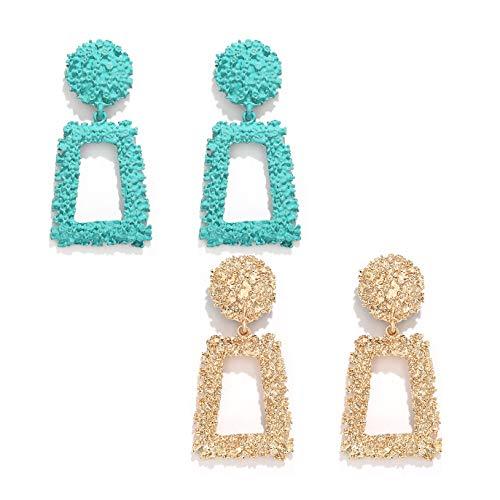boderier Rasied Statement Earrings Women Vintage Chunky Metal Textured Geometric Square Drop Door Knocker Earrings Set