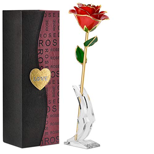 💓Gold Dipped Rose💓Roses Are Composed Of Red Flowers, Green Leaves And Yellow Branches With Gold Borders. Roses Are Very Beautiful And Noble Gifts. The Length Of Roses Is 11 Inches. 💓Real Touch Flowers💓 The Packing Box Of Roses Is Composed Of Black An...