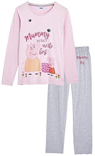 Peppa Pig Pijamas Mujer, Ropa de Mujer para Dormir, Pijama Dos Piezas Pepa Pig, Conjunto de Camiseta Manga Larga y Pantalon, Regalos Originales para Mujer Madres Tallas S - L (S)