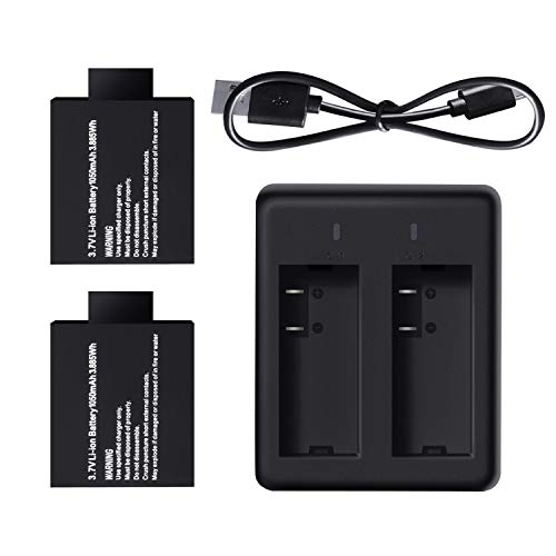 Campark 2 x 1050mAh Rechargeable Action Camera Battery with USB Dual Charger Compatible with Action Camera ACT74/ACT76/X20/AKASO/Crosstour/EKEN/APEMAN/SJCAM