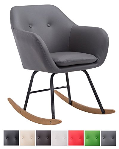 CLP Schaukelstuhl Avalon, Kunstleder-Sitz, Schaukelsessel mit Metall-Gestell, Relaxsessel mit Holzkufen, Grau