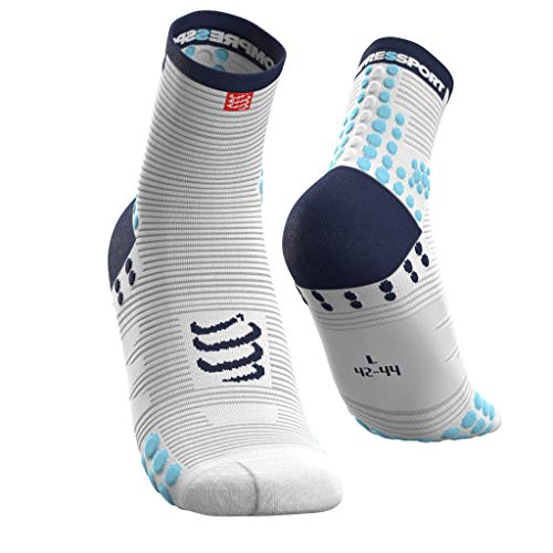 COMPRESSPORT Pro Racing Socks v3.0 Run High Calcetines para Correr, Unisex-Adult, Blanco/Azul, T4