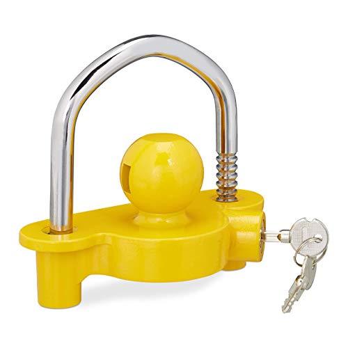 Relaxdays 10026002 Anhängerschloss, Diebstahlschutz für gängige Anhängerkupplung, 2 Schlüssel, massiv, Anhängersicherung, gelb, 8 x 16 x 14 cm