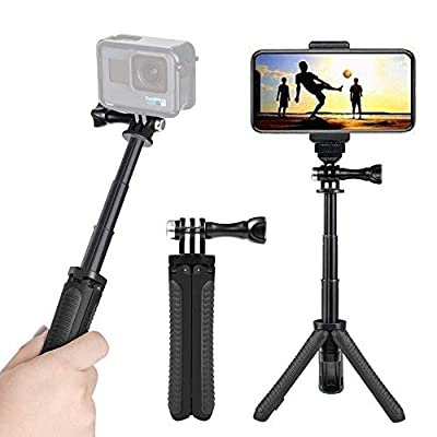 Mini Selfie Stick Tripod Kit 2-in-1, Compatible with Hero 9/8/ 7/6/MAX/OSMO/ACTION Action Cameras and Smartphones, 1/4 inch Screw Fixed, with 3-Level Telescopic Function Tripod?Black? by DADE FAC