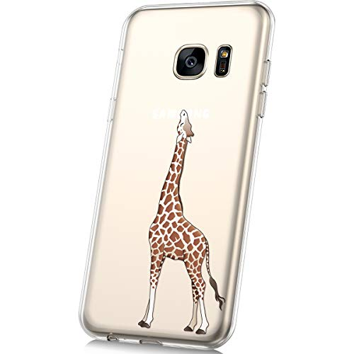 JAWSEU Funda Compatible con Samsung Galaxy S7 Transparente Suave TPU Silicona Gel Funda con Dibujos Animados Diseño Ultra-Delgado Anti-arañazos Resistente Protectora Carcasa,Jirafa
