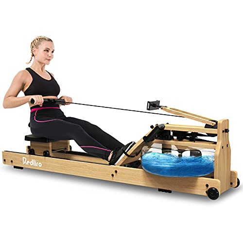 REDLIRO Water Rowing Machine Wood Folding Water Resistance Rower for Home Gym Use Oak Wooden Indoor Fitness Sports Training Equipment Bluetooth LCD Monitor (Electric Water Pump Included)