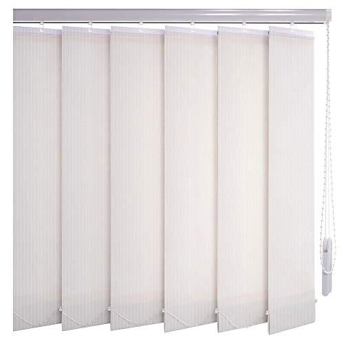 Sonnenschutz-HH® - Lamellenvorhang weiß Leinenoptik mit Streifen lichtdurchlässig - Breite 135 cm x 70 cm Höhe - Lamellenbreite 127mm Vertikaljalousie Vertikalanlage Schiebevorhang