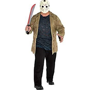 SUIT YOURSELF Jason Voorhees Costume for Men Friday The 13th Plus Size Includes Jacket Shirt and Mask