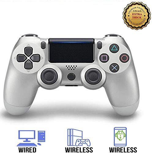 PS4 Controller, Wireless Gamepad for Playstation 4/Pro/Slim/PC(7/8/8.1/10) with Motion Motors and Audio Function Mini LED Indicator USB Cable and Anti-Slip Upgraded Version White