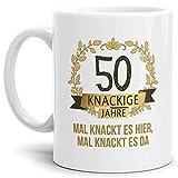 Tassendruck Geburtstags-Tasse Knackige 50' Geburtstags-Geschenk Zum 50. Geburtstag/Geschenkidee/Scherzartikel/Lustig/Witzig/Spaß/Fun/Mug/Cup/Beste Qualität - 25 Jahre Erfahrung
