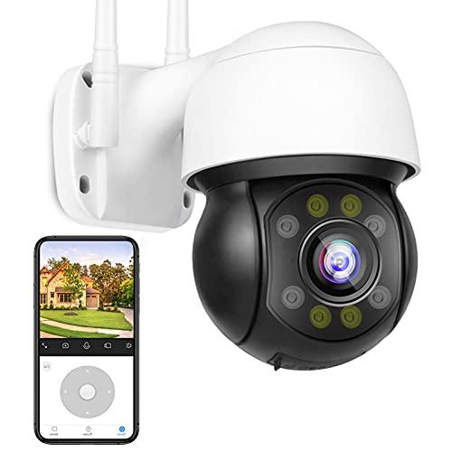 Cámara IP de Vigilancia Exteriores HD 1080P PTZ Cámara WiFi HD Visión Nocturna en Color 30M,Impermeable IP66,Alarma de APP,Seguimiento Automático,Alarma de voz DIY,Detección de Movimiento 【Cámara+32G】