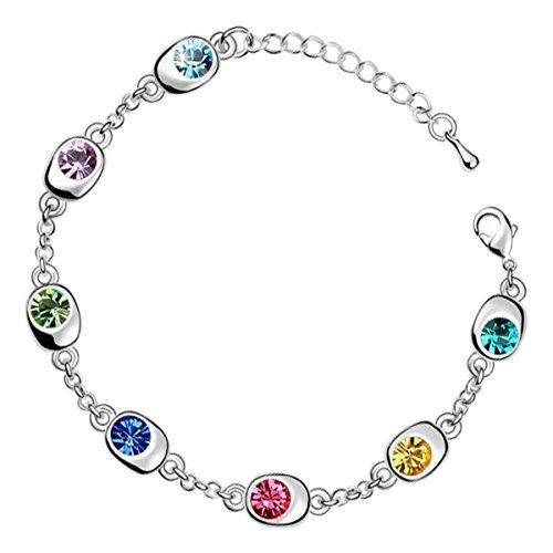 GWG Jewellery Pulseras Mujer Regalo Pulsera Brazalete, Chapada en Plata de Ley con 7 AAA Cristales Brillantes Austríacos Multicolores para Mujeres