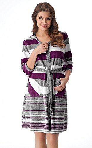 DOROTA kuscheliger und moderner Baumwoll-Bademantel mit Reißverschluss und Kapuze oder mit zusätzlichem Bindegürtel, lila-gestreift ohne Kapuze, Gr. 3XL (46)