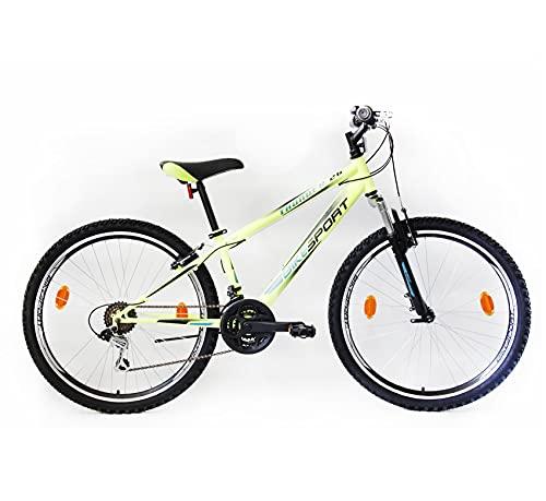 Bikesport Thunder Bicicletta Mountain Bike Uomo 26', Shimano 21 cambios (Nero Opaco, M)