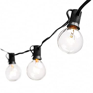 Globe String Lights with G40 Bulbs - Connectable Outdoor String Lights for Garden Party Patio Bistro Market Cafe Hanging Umbrella Lamp Backyard Lights (25ft Black)