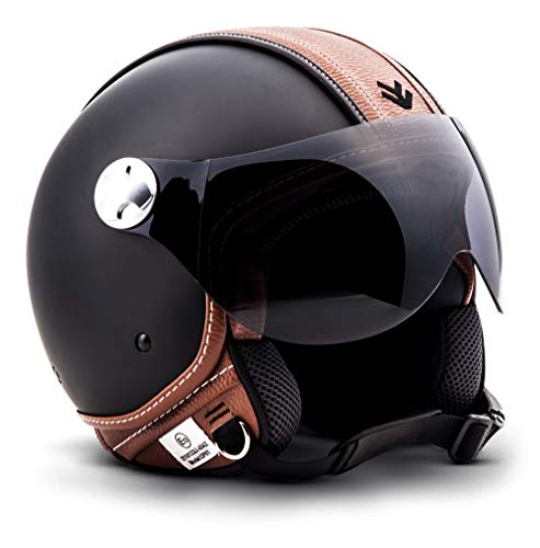 "ARMOR HELMETS® AV-84 ""Vintage Deluxe"" · Jet-Helm · Motorrad-Helm Roller-Helm Scooter-Helm Moped Mofa-Helm Chopper Retro Vespa Vintage Pilot · ECE 22.05 Visier Schnellverschluss Tasche S (55-56cm)"