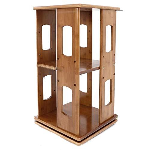 NYKK Estantería para Libros Estantería de bambú Natural Librería giratoria, 360 ° de rotación Organizador Torre de Almacenamiento Gira sobre un Eje Shelf Bookcase (Color : B)
