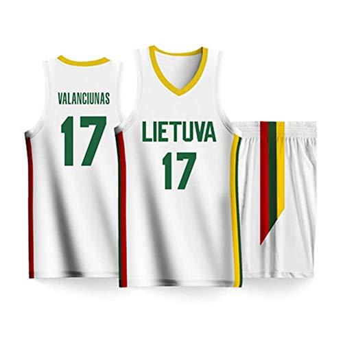 CCKWX Basketball-Trikotanzüge Der Weltcup-Nationalmannschafts-Basketballmannschaft # 17 Litauen Für Herren, Klassische Ärmellose Sportswear-T-Shirt-Shorts Aus Unisex-Jersey,XL:185cm/90~100kg