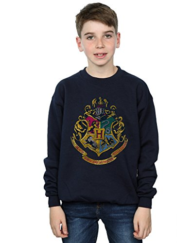 Harry Potter Jungen Hogwarts Distressed Crest Sweatshirt 7-8 Years Marine