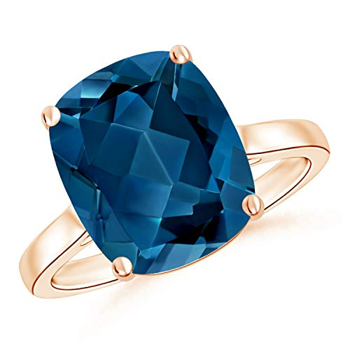 Holiday Gift For Women - Classic Cushion London Blue Topaz Solitaire Ring in 9K Rose Gold (12x10mm London Blue Topaz)