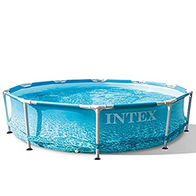 Intex 28207EH 10 Feet x 30 Inch Rust Resistant Steel Metal Frame Outdoor Backyard Above Ground Circular Beachside Swimming Pool with Filter Pump