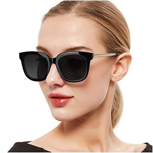 SIPHEW Gafas de Sol Mujer Grandes Eliminar Reflejos con Protección 100% UVA/UVB-Gafas de Espejo