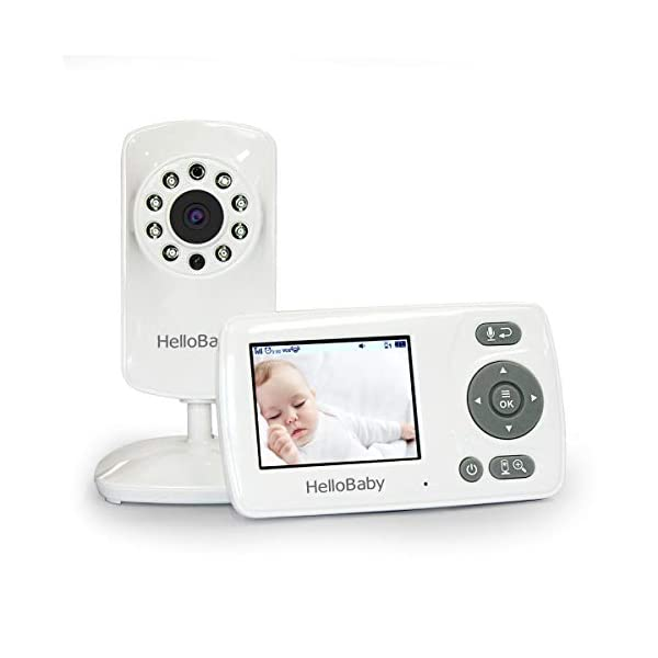 HelloBaby 2.4G HZ Digital Wireless Video Baby Monitor with Camera and Vedio, VOX Mode,Feeding Alarm,Infrared Night Vision and Two-Way Audio,Lullabies,Support Multi Cameras, Long Range