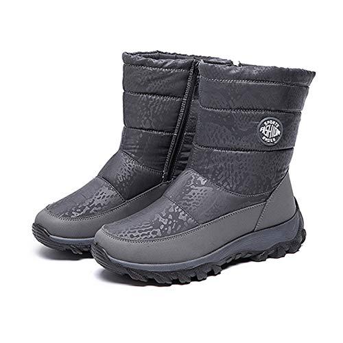 Enticerowts - Stivali da neve invernali da donna, impermeabili, con fodera in peluche, con cerniera, a metà polpaccio, da neve, da esterni, caldi, impermeabili, per passeggiate, trekking Grigio 40