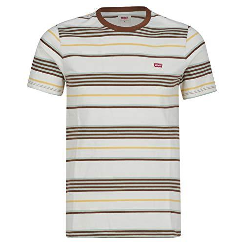Levi's SS Original HM tee Camiseta, Bright Stripe Tofu, S para Hombre