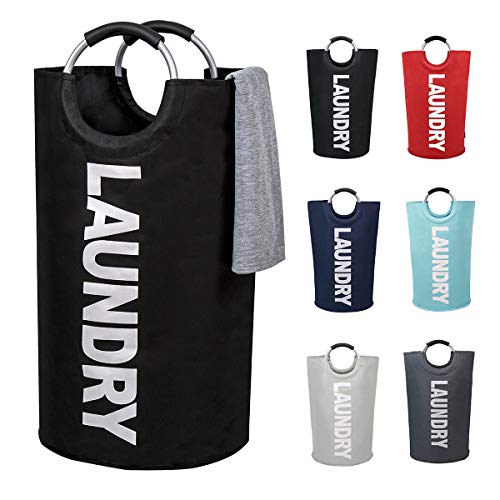 82L Large Laundry Basket Collapsible Fabric Laundry Hamper Tall Foldable Laundry Bag Handles Waterproof Portable Washing Bin Folding Clothes Bag Travel Shopping Bathroom College Black L