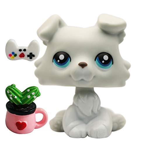 BGTOY Sitting Collie Baby Grey Blue Eyes Fit LPS Collie 363 Custom Made Puppy Dog 1.57'' Figure Kids Girls Boys Gift