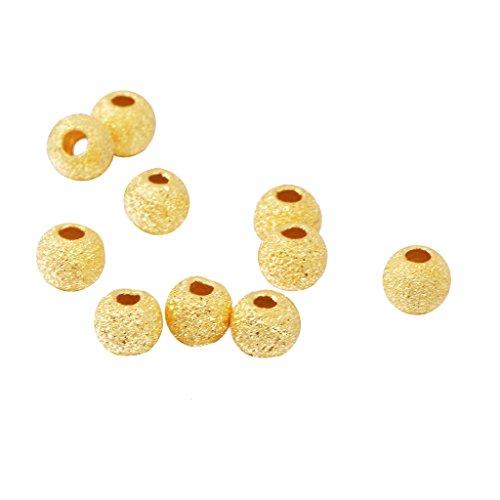 Fenteer 10 pcs Metallperlen Zierperlen Kügelchen Zwischenperlen Bastelperlen Für Halsketten Schmuck DIY - Gold 3mm