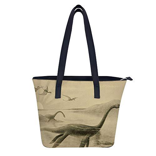 Loch Ness Monster Damen-Leder-Handtasche, modische Damen-Umhängetasche, Messenger-Taschen, wasserdichte Tragetasche für den täglichen Einkauf.