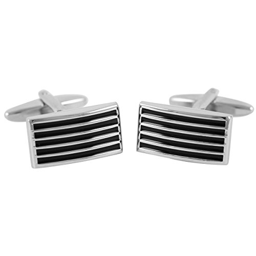 Lindenmann Cufflinks/Cuff Buttons, Silvery with Lacquer Ornament in Black, Gift Box, 2976