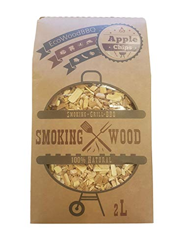EcoWoodBBQ BBQ Barbecue Smoking Wood Chips Food Smoke Apple 2L 100% Natural No Chemicals