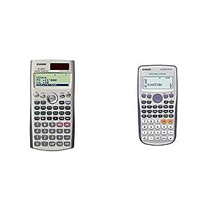 Casio FC-200V - Calculadora financiera, 12.2 x 80 x 161 mm, Gris + FX-570ES Plus - Calculadora científica 80 x 162 x 13.8 mm, Plata/Azul