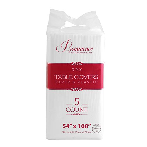 Party Bargains 5 Disposable Table Covers - 54 X 108, 3 Ply Premium Paper & Plastic White Table Cover