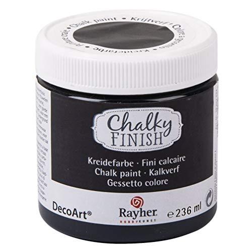 RAYHER HOBBY 38868574 Chalky Finish auf Wasser-Basis, Kreide-Farbe für Shabby-Chic-, Vintage- und Landhaus-Stil-Looks, 236 ml, ebenholz